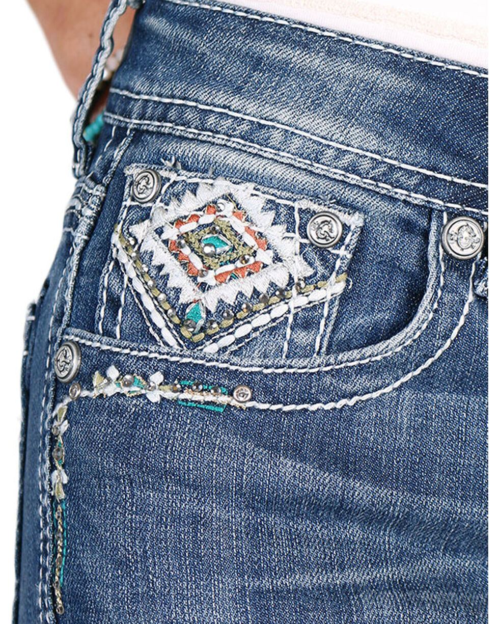 Grace in LA Women's Diamond Embroidered Boot Cut Jeans, , hi-res