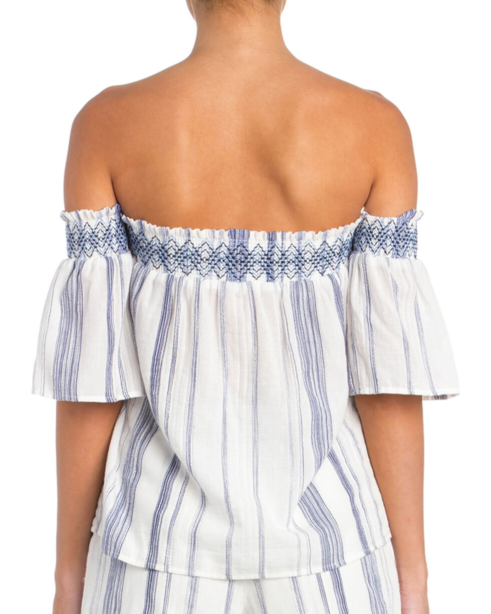 Miss Me Women's Along These Lines Stripe Off-The-Shoulder Top, White, hi-res