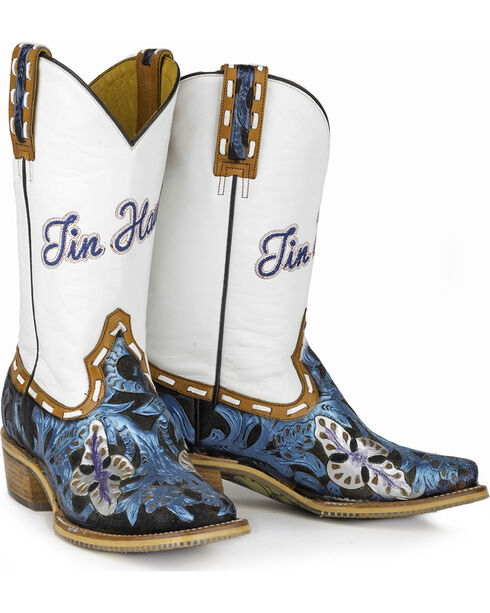 Tin Haul Women's Wild Blue with Guns and Roses Sole Cowgirl Boots - Square Toe, , hi-res