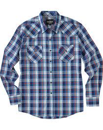 Garth Brooks Sevens by Cinch Men's Blue Hexagon Snaps Long Sleeve Plaid Shirt , , hi-res
