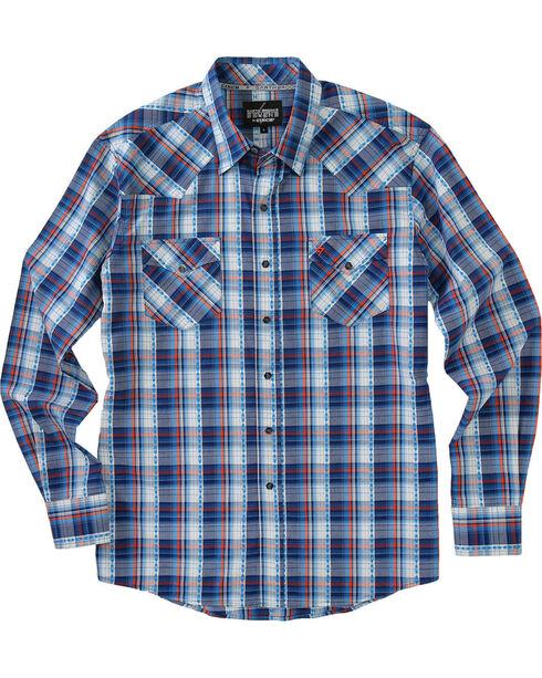 Garth Brooks Sevens by Cinch Men's Blue Hexagon Snaps Long Sleeve Plaid Shirt , Blue, hi-res