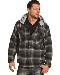 Victory Rugged Wear Men's Hooded Flannel Snap Shirt Jacket, , hi-res
