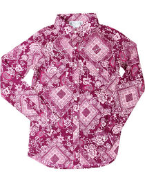 Shyanne® Girls' Paisley Bandana Print Long Sleeve Shirt, , hi-res