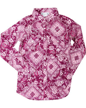 Shyanne® Girls' Paisley Bandana Print Long Sleeve Shirt, Magenta, hi-res