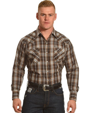 Ely Cattleman Men's Brown Lurex Plaid Long Sleeve Snap Shirt, Brown, hi-res