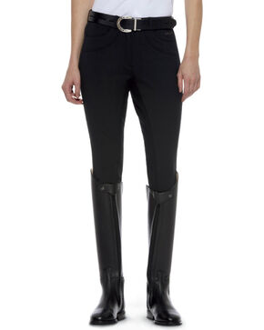 Ariat Women's Olympia Zip-Front Regular Rise Full Seat Breeches, Black, hi-res