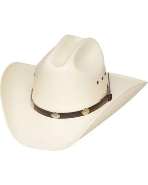 Western Express Men's White Cattleman Straw Hat , White, hi-res