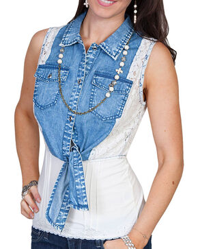 Scully Women's Lace Tie Fashion Vest, Blue, hi-res