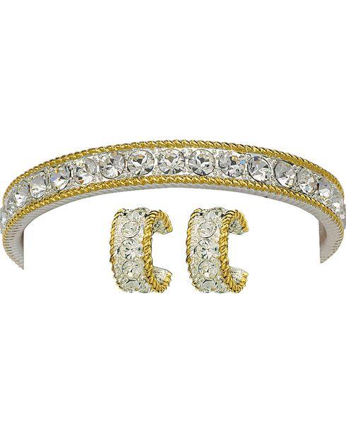 Montana Silversmiths Rhinestone Bracelet and Earring Set, Silver, hi-res