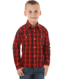 Wrangler Boys' Wrinkle Resist Black & Red Plaid Shirt, , hi-res