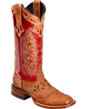 Lucchese Women's Amberlyn Exotic Ostrich Western Boots, Tan, hi-res