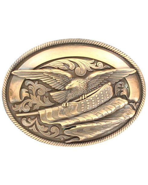 Oval Rope Edge Eagle Flag Buckle, Copper, hi-res