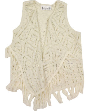 Shyanne Girl's Fringe Sweater Vest, Natural, hi-res