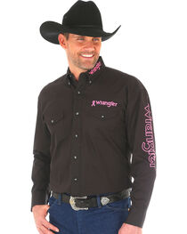 Wrangler Men's Black Western Tough Enough To Wear Pink Logo Long Sleeve Shirt - Big and Tall , , hi-res