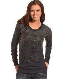 Rock & Roll Cowgirl Women's Grey Cross Long Sleeve Top , , hi-res