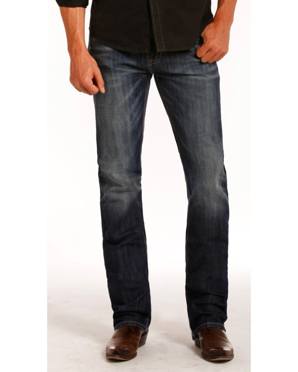Rock & Roll Cowboy Men's Vintage Wash Revolver Straight Leg Jeans, Indigo, hi-res