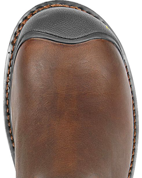 Keen Footwear Men's Wellington Pull-On Steel Toe Work Boots, Dark Brown, hi-res