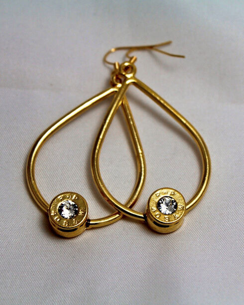 SouthLife Supply Scarlett Bullet Tear Drop Earring in Traditional Gold with Crystal, Gold, hi-res