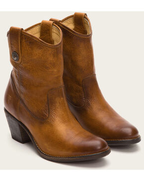 Frye Women's Cognac Jackie Button Short Boots - Medium Toe , Cognac, hi-res