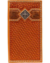 Ariat Men's Basket Weave Rodeo Checkbook Cover Wallet, , hi-res