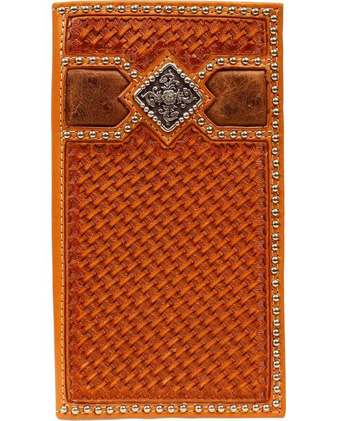 Ariat Men's Basket Weave Rodeo Checkbook Cover Wallet, Natural, hi-res