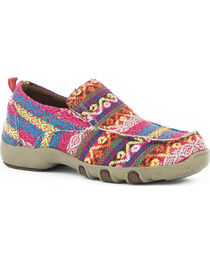 Roper Girls' Chase Multi-Colored Fabric Driving Mocs - Moc Toe, , hi-res