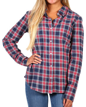 Stetson Women's Plaid Long Sleeve Shirt, Blue, hi-res