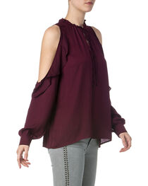 Miss Me Women's Burgundy Cold Shoulder Ruffle Blouse , , hi-res