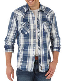 Wrangler Retro Men's Distressed Plaid Long Sleeve Shirt, , hi-res