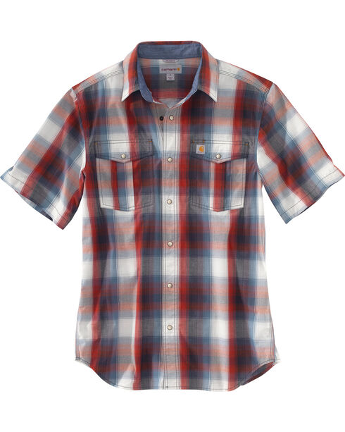 Carhartt Men's Plaid Short Sleeve Shirt, Red, hi-res
