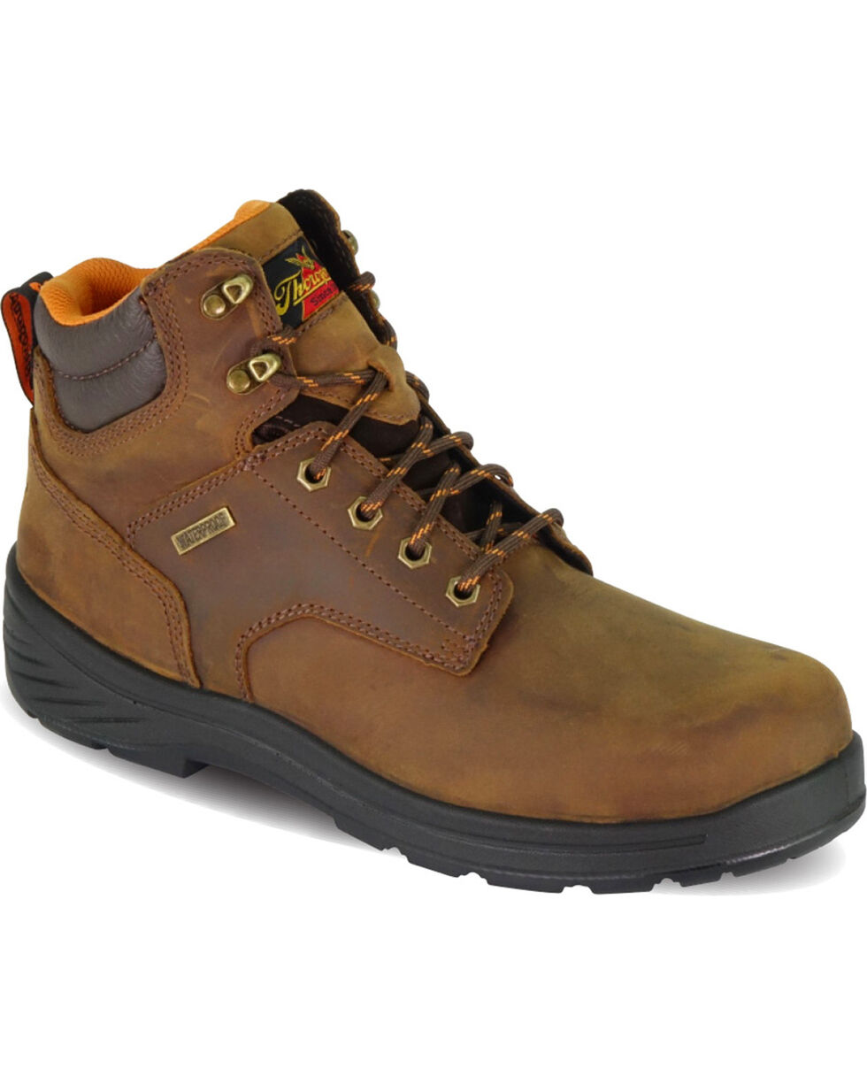 "Thorogood Men's 6"" Waterproof Thoro-Flex Work Boots - Round Toe , Brown, hi-res"