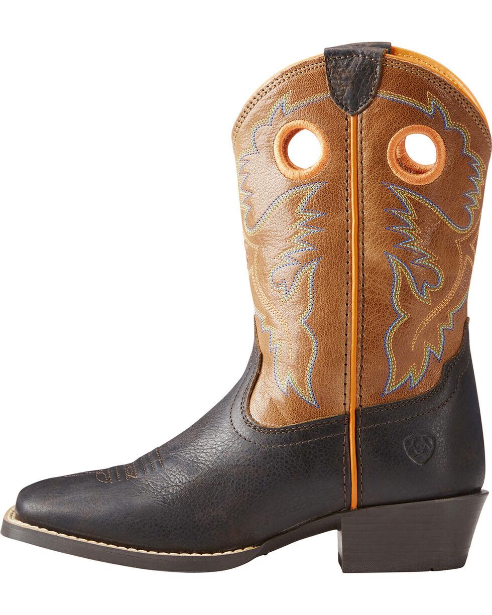 Ariat Boys' Brown Heritage Roughstock Cowboy Boots - Square Toe , Dark Brown, hi-res