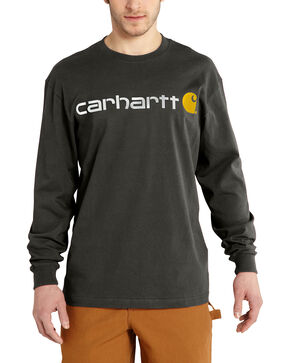 Carhartt Men's Long Sleeve Logo T-Shirt, Bark, hi-res