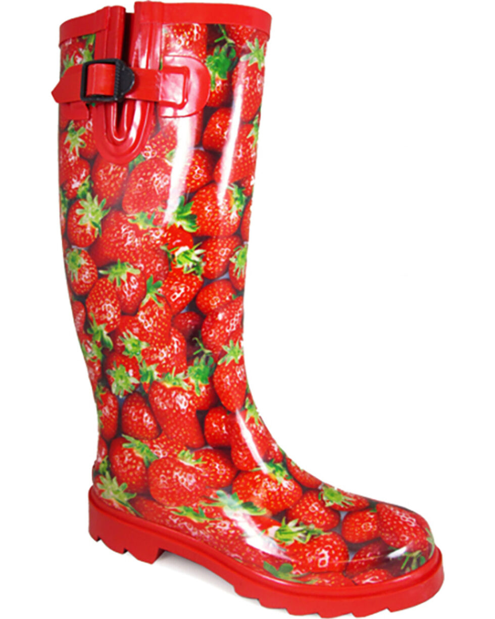 Smoky Mountain Women's Strawberry Rain Boots , Red, hi-res