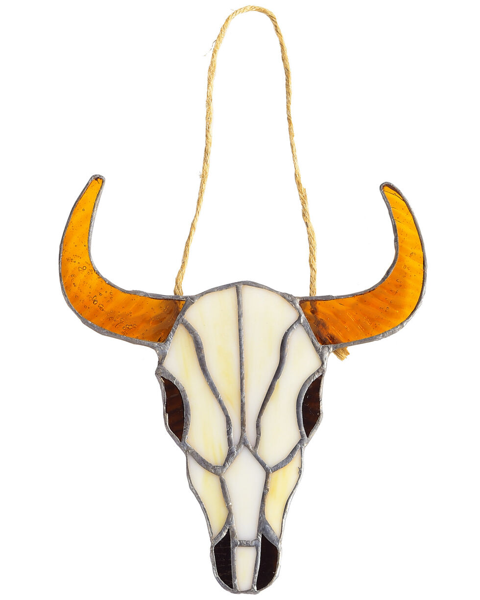 BB Ranch Glass Cow Skull Wall Décor, Brown, hi-res