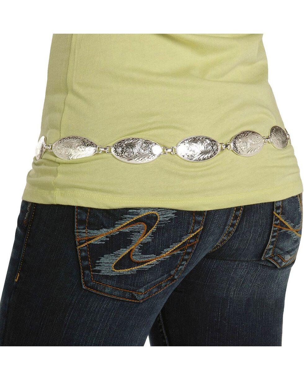 Tony Lama Women's Oval Concho Chain Belt, Silver, hi-res