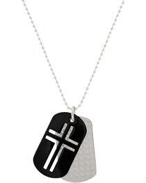 Montana Silversmiths Men's Stainless Steel Cross Token Necklace, , hi-res