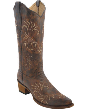 Circle G Women's Distressed Brown Filigree Western Boots, Beige, hi-res