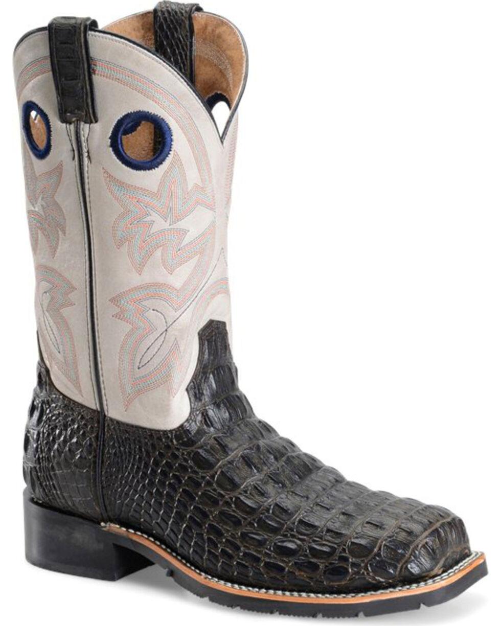 "Double H Men's 12"" Caiman Print Steel Toe Western Boots, Brown, hi-res"
