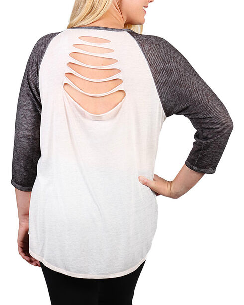 Project Karma Women's Plus Size Johnny Cash Baseball Tee, Ivory, hi-res