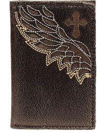Nocona Cross & Wing Inlay Tri-fold Wallet, , hi-res