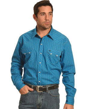 Garth Brooks Sevens by Cinch Stripe Pattern Western Shirt, Blue, hi-res