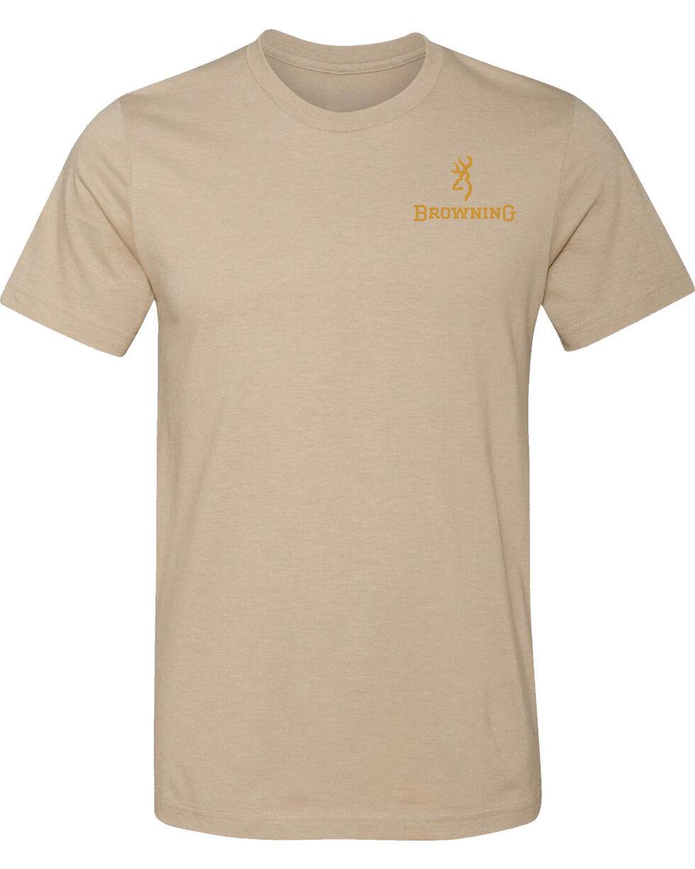 Browning Men's Waterfowl Buckmark Heather Tan Short Sleeve Tee, Tan, hi-res