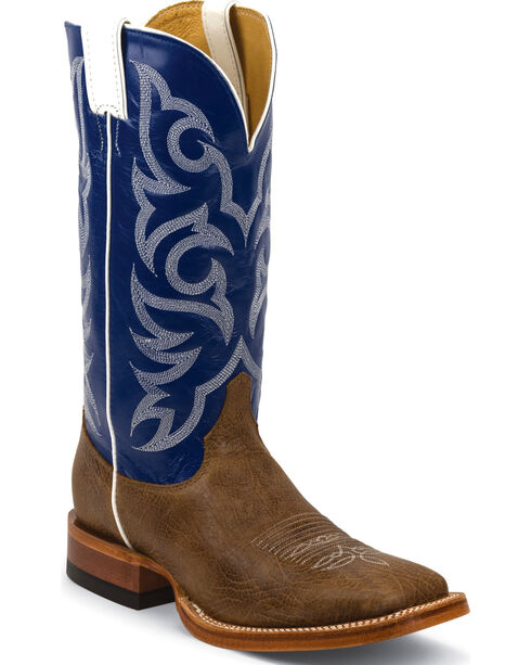 Justin Men's Delta Cowhide Western Boots, Brown, hi-res