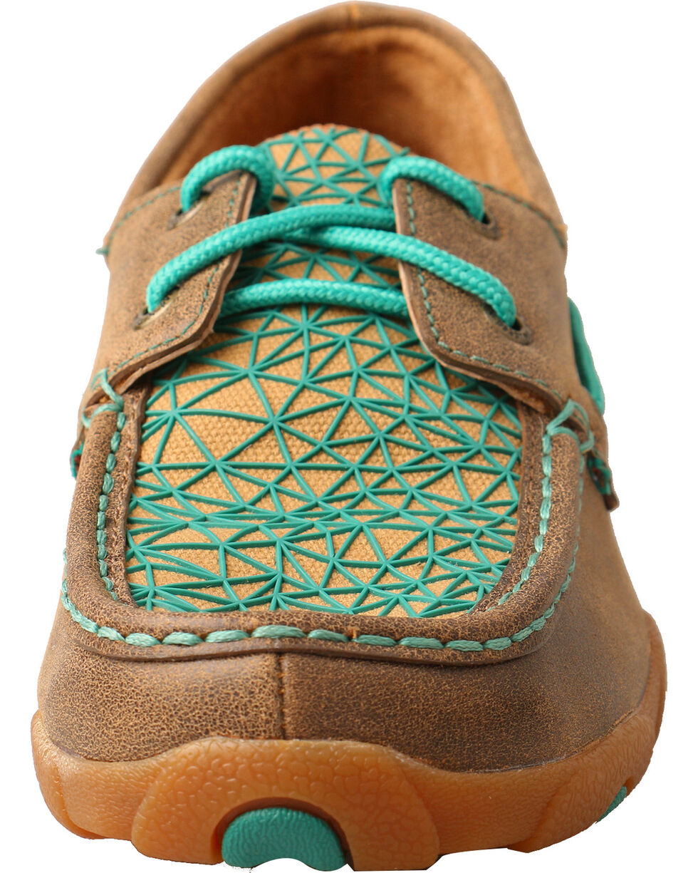 Twisted X Women's Bomber Brown Turquoise Driving Mocs - Moc Toe, Multi, hi-res