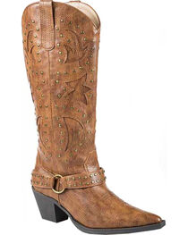 Roper Tumbled Harness Cowgirl Boots - Pointed Toe, , hi-res