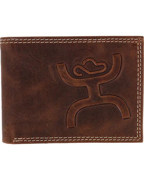 HOOey Men's Embossed Bifold Wallet, Brown, hi-res