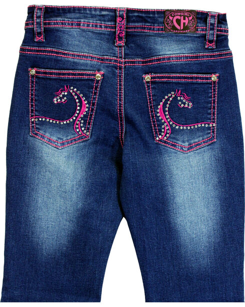 Cowgirl Hardware Toddler Girls' Swirl Horse Embroidered Jeans (12MO-6T), Indigo, hi-res