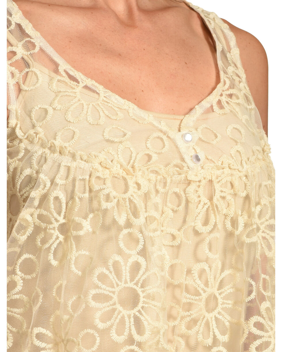 Young Essence Women's Sheer Lace Tank Top , Beige/khaki, hi-res
