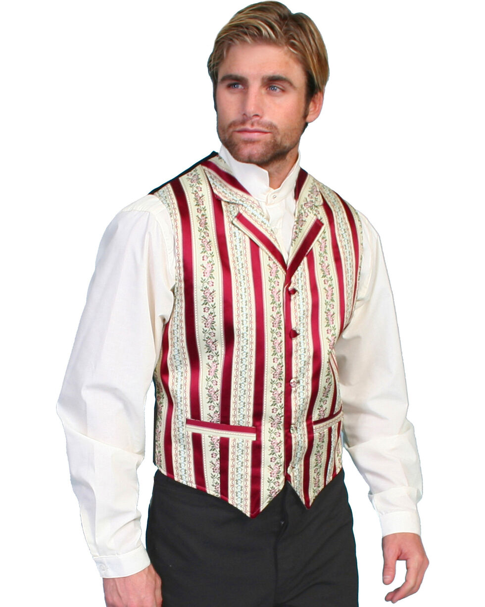Rangewear by Scully Wallpaper Striped Vest - Big & Tall, Burgundy, hi-res